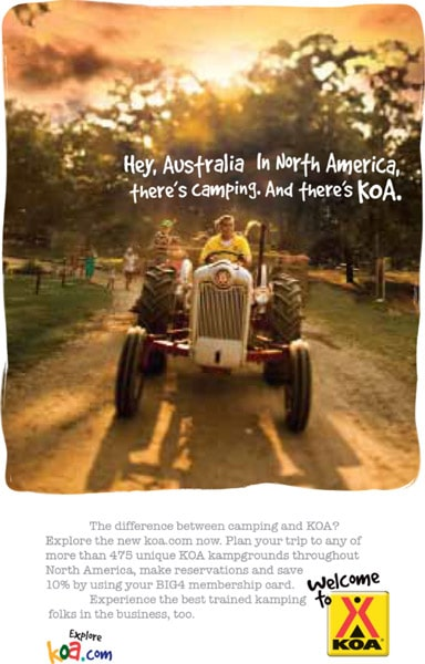 ad printed in australia for american KOA campgrounds