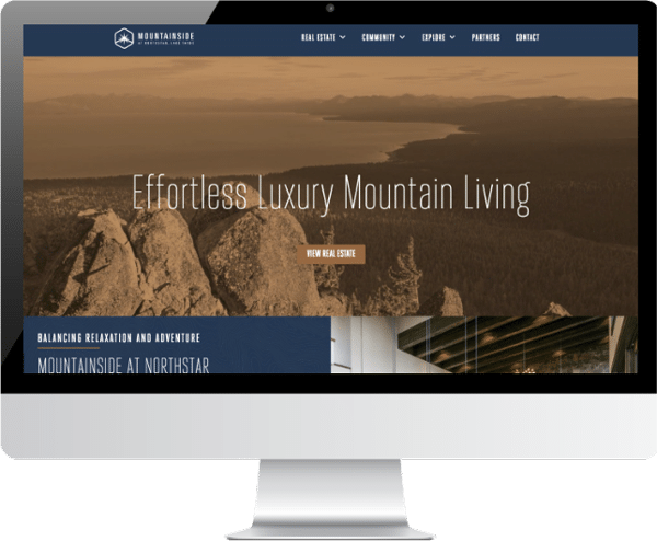 screenshot of the mountainside website developed by rhinohub