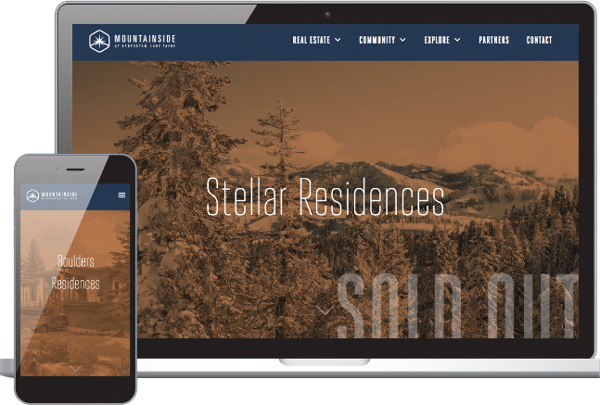 screenshot of mountainside at northstar website for laptop and mobile developed by rhinohub