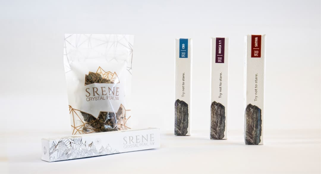 different cannabis packaging produced for srene cannabis on display