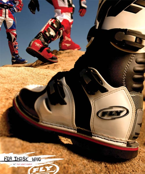product photography for fly racing boots products