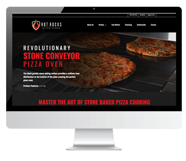 screenshot display of hot rocks pizza ovens website