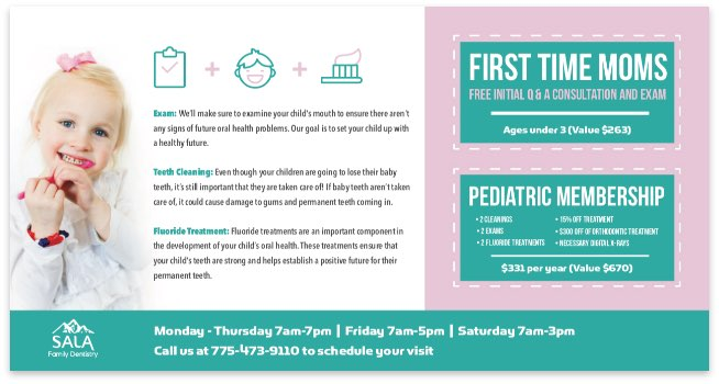 direct mail piece for dental provider offering discount for new moms