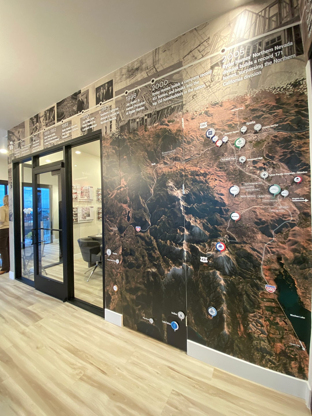 interior office wall with timeline